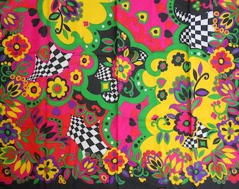 Vintage 70s Colorful  Pop Art Scarf
