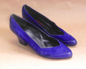 Vintage 80s Leather Suede Women's Charles Jourdan Blue-Violet High Heel Shoes Size 8 Shoes
