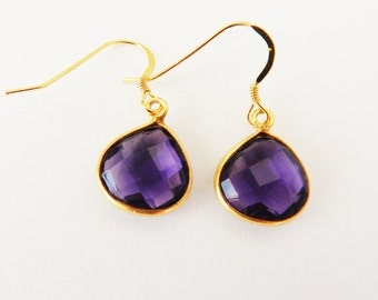 Genuine Faceted Amethyst Teardrop Gold Vermeil Earrings