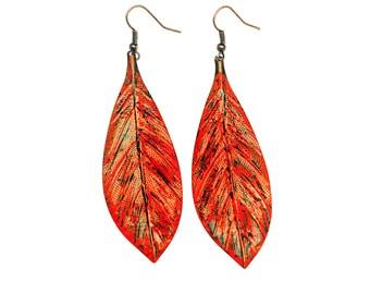 Leaf Earrings,Dangle Earrings, Drop Earrings,Leaf Jewelry,Nature Inspired Jewelry,Nature Lover,Rustic Jewelry,OrangeEarrings,Woodland,Forest