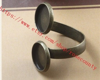 New Style--5pcs Antiqued Bronze Round Trays 12mm bezel ring blank findings--double trays--very strong