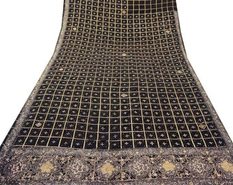 Vintage Indian Saree Polyester Hand Beaded Deco Craft Recycled Fabric Sarong Free Shipping Black Sari A13720