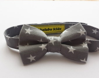 Trendy Baby Boys Bow Tie, Handcrafted Bow Tie In Grey With White Stars, Weddings, Birthdays, Party's