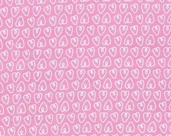 100% Cotton Flannel Quilting Fabric Fat Quarter Petite Hearts Pink