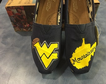 WVU Hand Painted Toms Shoes