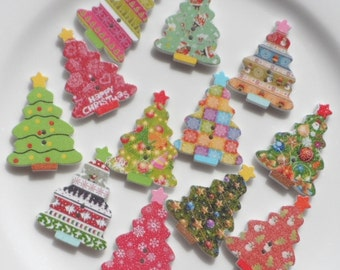 10 Wooden buttons to Christmas Tree 35x25mm