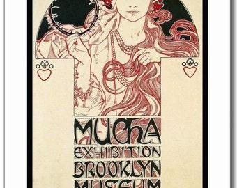 Mucha, Exhibition, Brooklyn Museum NY 1921 Vintage REPRO Postcard