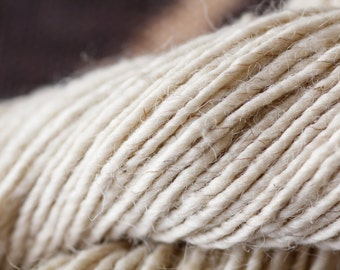 Wool rug yarn, single ply, spun from my Navajo Churro sheep fleeces.  NATURAL CREAMY WHITE.  Tightly spun and sold in 4 oz hanks or cones.