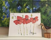 Three Red Poppy Poster 12 x 16 Fine Art Poster Shipping included in Price