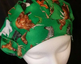 Zoo Animals Bouffant Scrub Hat With Banded Front & Toggled Back