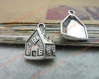 45 Little House Charms, 17X13mm Silver Tone Tiny Cabin Pendants T-c7590
