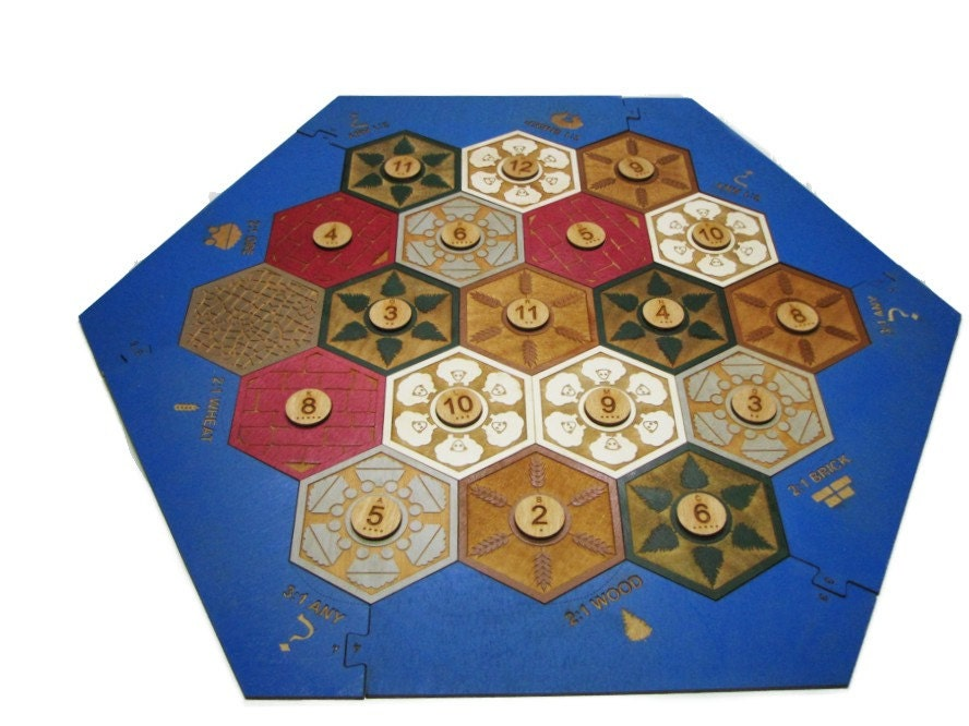 Settlers Of Catan Wooden Game Board Laser Cut And Engraved Board