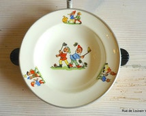 Vintage children's warming plate,  illustrated baby plate, china warming plate with pixie decoration