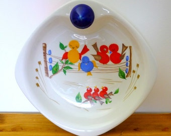 Vintage children's warming plate,  baby plate, china warming plate with birds decoration