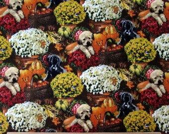 Per Yard, Autumn Bounty Fabric with Flowers and Puppies From SPX