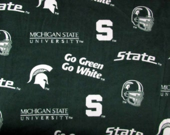 Per Yard, FLEECE Michigan State Spartans Fabric From Skyel