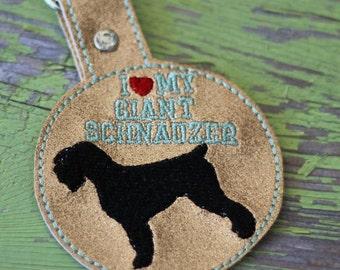 I Love My Giant Schnauzer - Dog In The Hoop - Snap/Rivet Key Fob - DIGITAL Embroidery Design