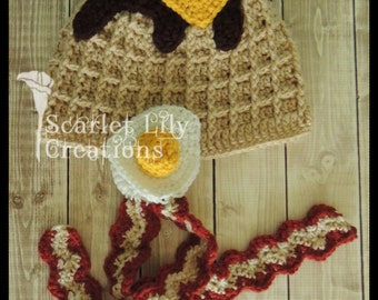 Waffle Hat, Breakfast Hat, Bacon and Eggs Hat