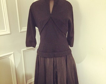 "Beautiful black 'Elinor Gay Original' 50's frock. Gorgeous shape. 38"" chest. 30"" waist"