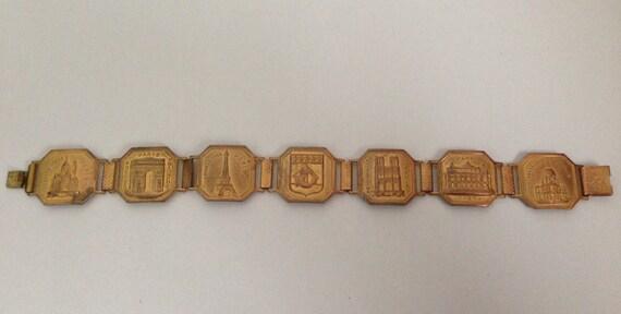 1950's Paris France Souvenir Panel Bracelet, Gold Tone