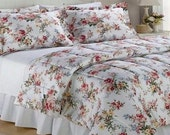 3P Ralph Lauren Petticoat King COMFORTER and SHAM SET 100% Cotton White Red Orange Yellow Blue Cottage Rose Floral Excellent - New
