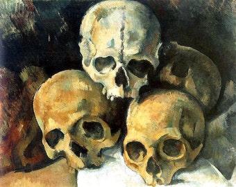 "Paul Cézanne A  Pyramid of Skulls.  goth. 11x14"" cotton canvas art print"