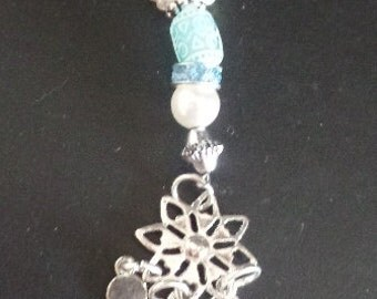 Nice, silver-tone & Turquoise blue key chain