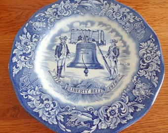 "Now marked 20% 0ff.  Pair of 1976, Bi-Centennial AVON Plates.  They are the ever popular blue & white, and are 7 1/2"" diameter"