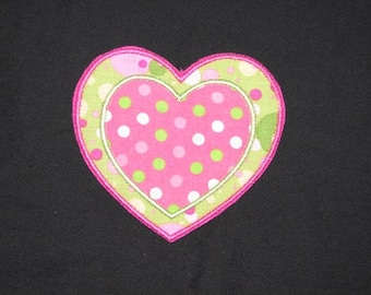Double Heart Pink Green Polka Dot Iron on No Sew Embroidered Patch Applique