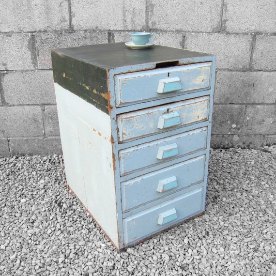1950s Mid Century Old Vintage Green Blue Pine Workshop Haberdashery Drawers Chest - Great Kitchen Storage