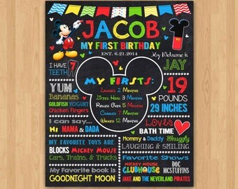 Mickey Mouse Chalkboard Poster, Mickey Mouse First Birthday Chalkboard, Mickey Mouse Birthday Sign, Mickey Mouse Poster, Board Printable