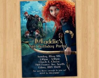 BRAVE Invitation, Brave Birthday Invitation Printable, Personalized Princess Merida Invite, Brave Merida Party Invitation Brave Movie