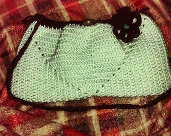 Mint Chocolate chip crocheted purse