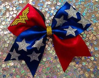 Cheer Bow Wonder Woman glitter