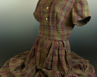 50s Fall Colors Back to School Plaid Day Dress Cotton Boucle Schoolgirl Schoolmarm S - M