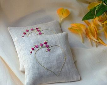 Lavender sachets set of 2, Pure linen sachets
