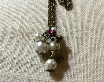 Bronze Antique & Pearl Cluster Charm Necklace