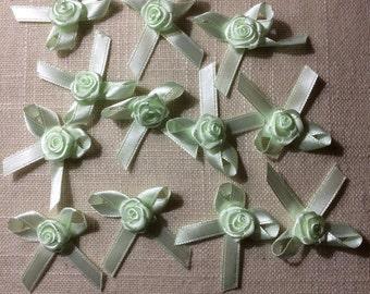 Satin Ribbon Rose Bow Flower Appliques (12)