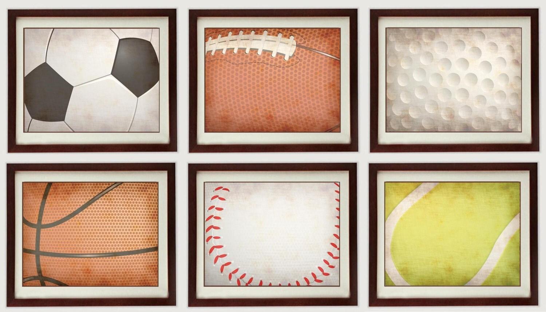 Vintage Style Sports Nursery Art Mix and Match Prints Baby Baseball Basketball Football Soccer Ball