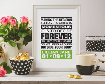 FREE SHIPPING. Customized Nursery Print: Elizabeth Stone Quote. Making the decision to have a child. 5x7/8x10. Professionally printed