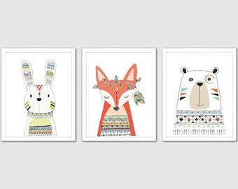 Woodland Tribal Animals Nursery Wall Art, Print Set Woodland, Boho Nursery Decor, Baby Tribal Print, Tribal Nursery, Boho Girl Wall Decor
