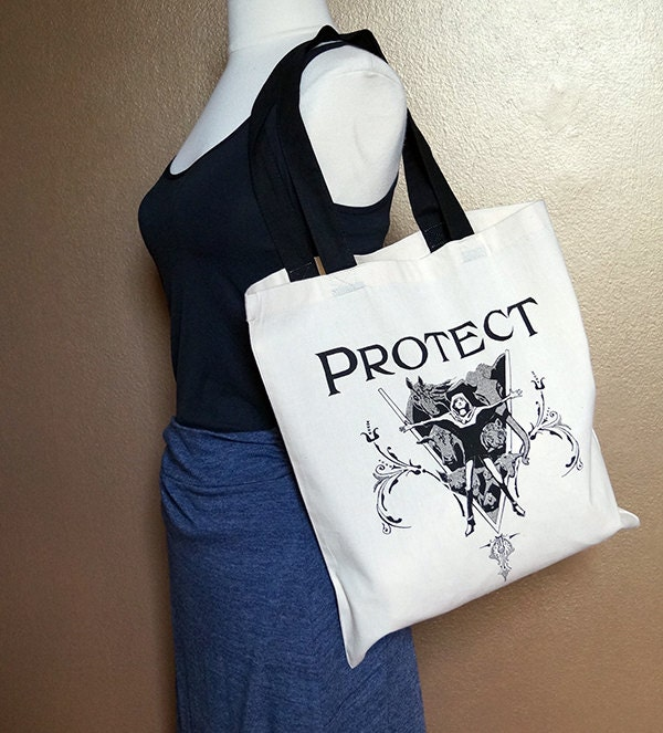 "Tote bag ""Protect,"" black on natural white"