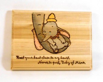 "Dumbo ""Baby of Mine"" wood burned and painted plaque"