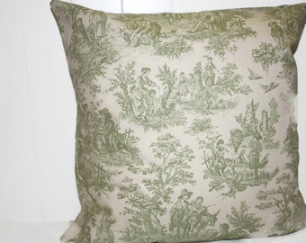 Decorative 18X18 Waverly Green Charmed Life TarragonToile Fabric Pillow Cover