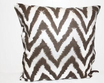 Premier Prints Brown and White Chevron Decorative Throw Pillow 16x16