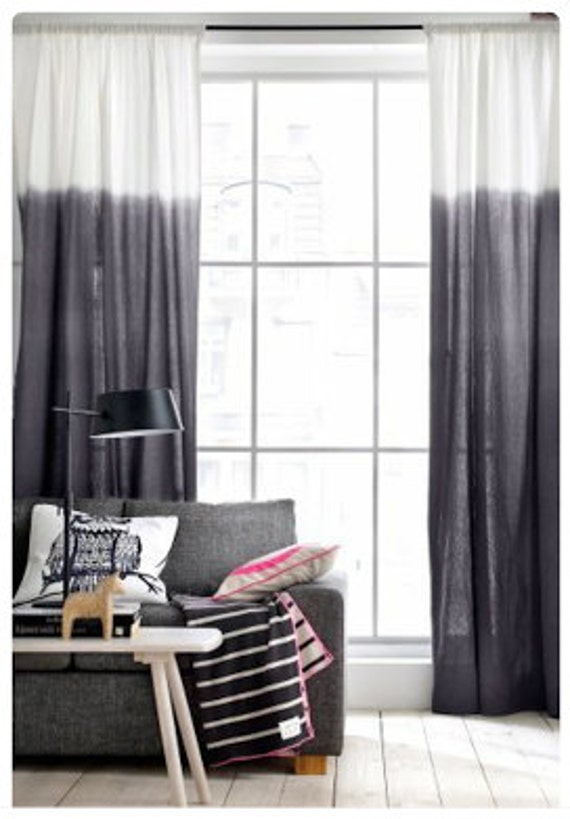 ombre black white tie dye rideau. Black Bedroom Furniture Sets. Home Design Ideas