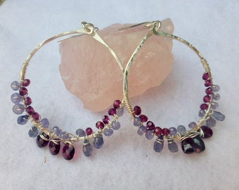 Sterling silver wire wrapped hoops with garnet, tanzanite and iolite