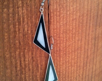 Retro Triangle Sterling Silver and Shell Earrings - Free Shipping
