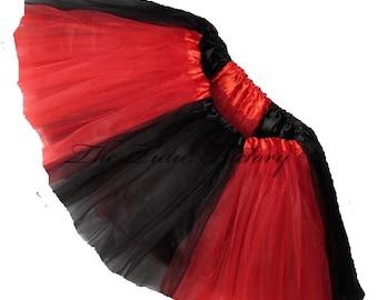 GEORGIA Cheerleader Tutu BLACK RED Tutu Girls Teens Adults Plus Size Short Length 11