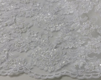 Beaded snow white lace fabric, Sequin lace, French lace, Chantilly lace, Bridal lace, Wedding lace, Embroidered Lace Floral lace by the yard